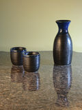 Sake Set on marble Stock Image