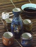 Sake set and Sushi Royalty Free Stock Image