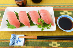 Sake and sushi Stock Photos