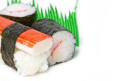 Sake sushi and Maki Sushi. Royalty Free Stock Photo