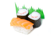 Sake Sushi And Maki Sushi. Stock Images