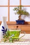 Sake and tea. Green tea and sake drink against a japanese traditional shoji window Stock Photo