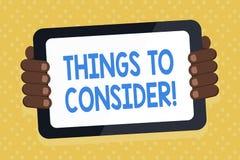 Saker för ordhandstiltext som ska betraktas Affärsidéen för tänker om något försiktigt för att göra beslut stock illustrationer