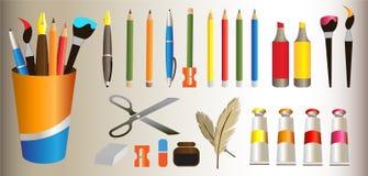 Saker för skola som pennor borstar radergummit stock illustrationer