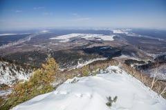Sakhalin berg och vinter Arkivfoton
