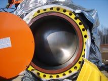 Sakhalin, Rusland - 12 November 2014: Klink voor de aardgasleiding Stock Foto's