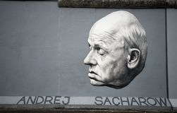 Sakharov on Berlin Wall stock photos