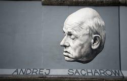 Sakharov op de Muur van Berlijn stock foto's