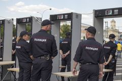 Sakharov-` s Aussicht Politische Sammlung für freies Internet, gegen das Blockieren des Botetelegramms polizei Lizenzfreie Stockbilder