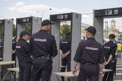 Sakharov ` s perspektywa Polityczny wiec dla bezpłatnego interneta przeciw blokingu gona telegramowi, policja obrazy royalty free