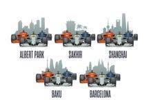 Sakhir, Barcelona, Shanghai, Melbourne, Baku. Cityline and racing cars on Grand Prix. Bahrain, Sakhir, Barcelona, Spain, Shanghai, China, Melbourne, Australia Royalty Free Stock Image
