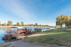 Sakkie se Arkie, a river boat at Upington. UPINGTON, SOUTH AFRICA - JUNE 11, 2017: Sakkie se Arkie, a river boat at a holiday resort with the same name, next to stock images