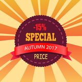 - 15 sakkunnig Autumn Price Promo Label Design Stock Illustrationer