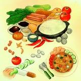 Sakkunnig Fried Rice Asian Cuisine How som lagar mat Mix Media Illustration vektor illustrationer