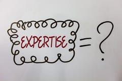 Sakkunskap för ordhandstiltext Affärsidé för sakkunnig expertis eller kunskap i meddelanden för idéer för en vishet för detaljfäl arkivbilder