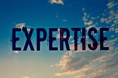 Sakkunskap för textteckenvisning Expertis eller kunskap för begreppsmässigt foto sakkunnig i blåa meddelanden för idéer för en vi royaltyfri bild