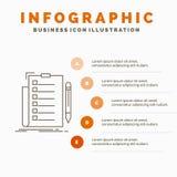 sakkunskap, kontrollista, kontroll, lista, dokumentInfographics mall f?r Website och presentation Linje gr? symbol med apelsinen stock illustrationer