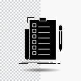 sakkunskap kontrollista, kontroll, lista, dokumentskårasymbol på genomskinlig bakgrund Svart symbol stock illustrationer