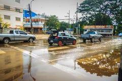 Sakon Nakhon Tajlandia, Sierpień, - 3, 2017: Po wody powodziowej reced Obrazy Royalty Free