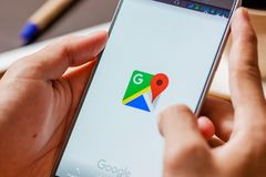 Sakon Nakhon, THAILAND -August 1,2017: Google Maps forSamsung no. Te5 . Its location service can work with or without a GPS receiver. Build for Android and iOS royalty free stock photos