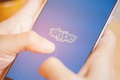 Sakon Nakhon, THAILAND - August 1,2017: Skype-Anmeldungsschirm auf Ipho Lizenzfreies Stockfoto