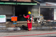 Sakon Nakhon, Thailand on September 13, 2015 at 15:00 o'clock. c. Onflagration damaged nearly the entire house. Fire officials estimated the cause of the short Royalty Free Stock Images