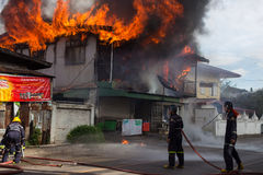 Sakon Nakhon, Thailand on September 13, 2015 at 15:00 o'clock. c. Onflagration damaged nearly the entire house. Fire officials estimated the cause of the short Royalty Free Stock Photography