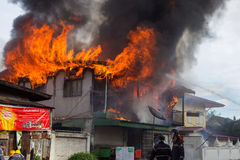 Sakon Nakhon, Thailand on September 13, 2015 at 15:00 o'clock. c. Onflagration damaged nearly the entire house. Fire officials estimated the cause of the short Royalty Free Stock Image