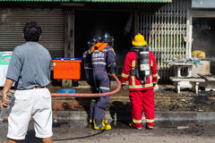 Sakon Nakhon, Thailand on September 13, 2015 at 15:00 o'clock. c. Onflagration damaged nearly the entire house. Fire officials estimated the cause of the short Royalty Free Stock Photos
