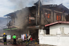 Sakon Nakhon, Thailand on September 13, 2015 at 15:00 o'clock. c. Onflagration damaged nearly the entire house. Fire officials estimated the cause of the short Stock Photo