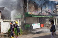 Sakon Nakhon, Thailand on September 13, 2015 at 15:00 o'clock. c. Onflagration damaged nearly the entire house. Fire officials estimated the cause of the short Royalty Free Stock Photo