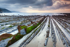 Sakoneta, flysch of Zumaia, Spain Royalty Free Stock Images