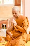 SAKONNAKHON,THAILAND December 23: Newly ordained Buddhist monk p Royalty Free Stock Photo