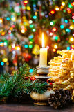 sakotis Baum neuen Jahres und Kerze der frohen Weihnachten Lizenzfreie Stockfotos