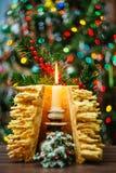sakotis Baum neuen Jahres und Kerze der frohen Weihnachten Lizenzfreies Stockbild