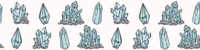 Sakral esoterisk kvarts Crystal Magic Utdragen sömlös vektorgräns för hand royaltyfri illustrationer