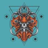 Sakral geometri för ultimat samurajskalle royaltyfri illustrationer