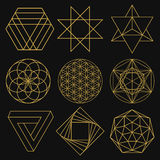 sakral geometri Uppsättning av nio diagram också vektor för coreldrawillustration vektor illustrationer
