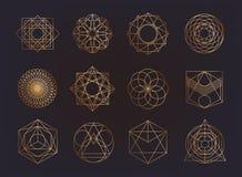 Sakral geometrisymbolsamling hipster abstrakt begrepp, alkemi, negro spiritual, mystikerbeståndsdeluppsättning royaltyfri illustrationer