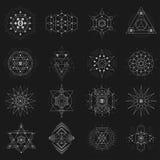Sakral geometriuppsättning på svart bakgrund stock illustrationer