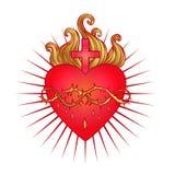 Sakral hjärta av Jesus med strålar Vektorillustration i rött och stock illustrationer