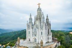 Sakral hjärta för tempel av Jesus på Tibidabo Arkivbilder