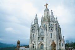 Sakral hjärta för tempel av Jesus på Tibidabo Royaltyfria Foton