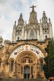 Sakral hjärta för tempel av Jesus på Tibidabo Royaltyfri Bild