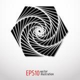Sakral labyrint för geometrisk sexhörningsillusion Spiralt design i svartvit 3d Royaltyfria Bilder