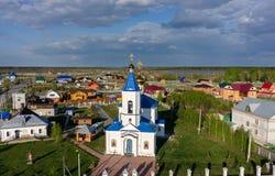 Sakral och Ilyinsky tempel Bogandinskoe Ryssland Royaltyfria Bilder