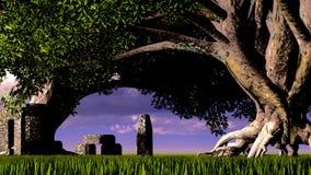 Sakral tempel i skog Arkivfoto