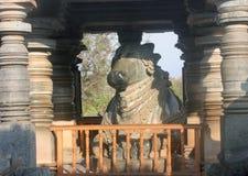 Sakral tjur på den Hoysaleswara templet, Halebedu, Karnataka Arkivbild