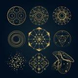 Sakrala geometriformer, former av linjer, logo stock illustrationer