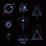 Sakrala geometriformer, former av linjer, logo, tecken, symbol stock illustrationer